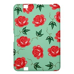 Red Floral Roses Pattern Wallpaper Background Seamless Illustration Kindle Fire Hd 8 9