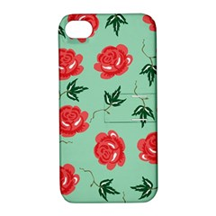 Red Floral Roses Pattern Wallpaper Background Seamless Illustration Apple Iphone 4/4s Hardshell Case With Stand