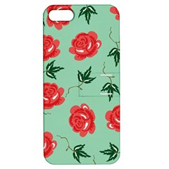 Red Floral Roses Pattern Wallpaper Background Seamless Illustration Apple Iphone 5 Hardshell Case With Stand
