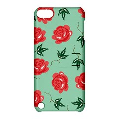 Red Floral Roses Pattern Wallpaper Background Seamless Illustration Apple Ipod Touch 5 Hardshell Case With Stand