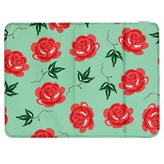Red Floral Roses Pattern Wallpaper Background Seamless Illustration Samsung Galaxy Tab 7  P1000 Flip Case