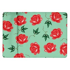Red Floral Roses Pattern Wallpaper Background Seamless Illustration Samsung Galaxy Tab 10.1  P7500 Flip Case