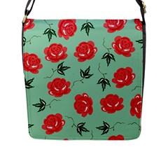 Red Floral Roses Pattern Wallpaper Background Seamless Illustration Flap Messenger Bag (L)