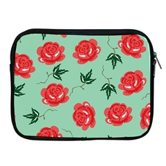Red Floral Roses Pattern Wallpaper Background Seamless Illustration Apple iPad 2/3/4 Zipper Cases