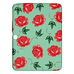 Red Floral Roses Pattern Wallpaper Background Seamless Illustration Samsung Galaxy Tab 3 (10 1 ) P5200 Hardshell Case