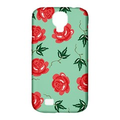 Red Floral Roses Pattern Wallpaper Background Seamless Illustration Samsung Galaxy S4 Classic Hardshell Case (pc+silicone)