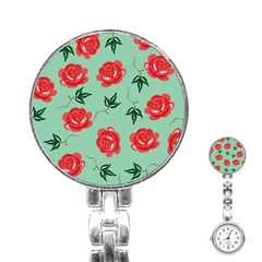 Red Floral Roses Pattern Wallpaper Background Seamless Illustration Stainless Steel Nurses Watch