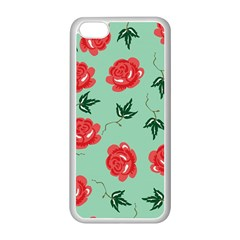 Red Floral Roses Pattern Wallpaper Background Seamless Illustration Apple Iphone 5c Seamless Case (white)