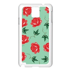 Red Floral Roses Pattern Wallpaper Background Seamless Illustration Samsung Galaxy Note 3 N9005 Case (white)
