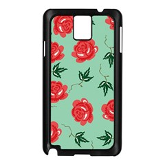 Red Floral Roses Pattern Wallpaper Background Seamless Illustration Samsung Galaxy Note 3 N9005 Case (black)