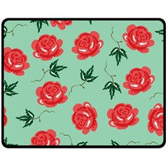 Red Floral Roses Pattern Wallpaper Background Seamless Illustration Double Sided Fleece Blanket (medium)