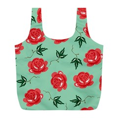 Red Floral Roses Pattern Wallpaper Background Seamless Illustration Full Print Recycle Bags (L)