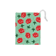 Red Floral Roses Pattern Wallpaper Background Seamless Illustration Drawstring Pouches (small)