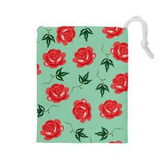 Red Floral Roses Pattern Wallpaper Background Seamless Illustration Drawstring Pouches (Large)