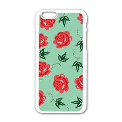 Red Floral Roses Pattern Wallpaper Background Seamless Illustration Apple iPhone 6/6S White Enamel Case