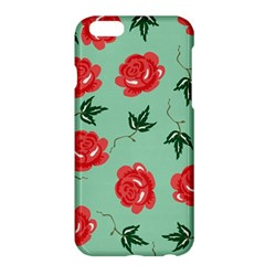 Red Floral Roses Pattern Wallpaper Background Seamless Illustration Apple iPhone 6 Plus/6S Plus Hardshell Case
