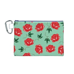 Red Floral Roses Pattern Wallpaper Background Seamless Illustration Canvas Cosmetic Bag (M)