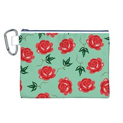 Red Floral Roses Pattern Wallpaper Background Seamless Illustration Canvas Cosmetic Bag (l)