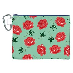 Red Floral Roses Pattern Wallpaper Background Seamless Illustration Canvas Cosmetic Bag (xxl)