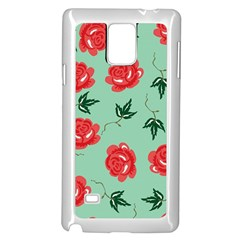 Red Floral Roses Pattern Wallpaper Background Seamless Illustration Samsung Galaxy Note 4 Case (White)
