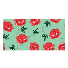 Red Floral Roses Pattern Wallpaper Background Seamless Illustration Satin Shawl