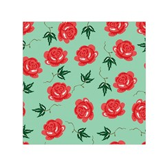 Red Floral Roses Pattern Wallpaper Background Seamless Illustration Small Satin Scarf (Square)
