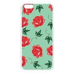 Red Floral Roses Pattern Wallpaper Background Seamless Illustration Apple Seamless iPhone 6 Plus/6S Plus Case (Transparent)