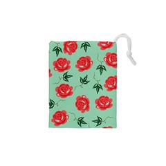 Red Floral Roses Pattern Wallpaper Background Seamless Illustration Drawstring Pouches (xs)