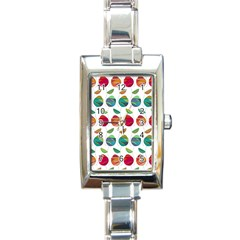 Watercolor Floral Roses Pattern Rectangle Italian Charm Watch
