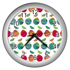 Watercolor Floral Roses Pattern Wall Clocks (Silver)