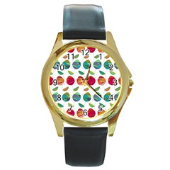Watercolor Floral Roses Pattern Round Gold Metal Watch