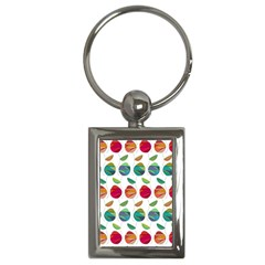 Watercolor Floral Roses Pattern Key Chains (rectangle)