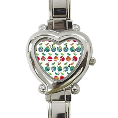 Watercolor Floral Roses Pattern Heart Italian Charm Watch
