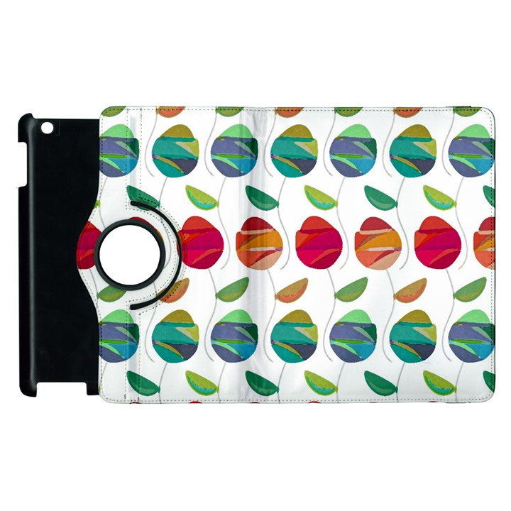 Watercolor Floral Roses Pattern Apple iPad 2 Flip 360 Case