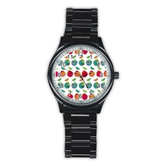 Watercolor Floral Roses Pattern Stainless Steel Round Watch