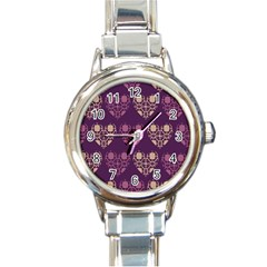 Purple Hearts Seamless Pattern Round Italian Charm Watch