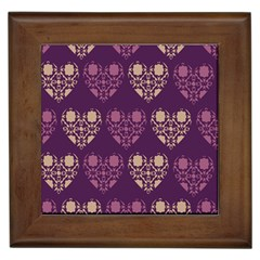 Purple Hearts Seamless Pattern Framed Tiles