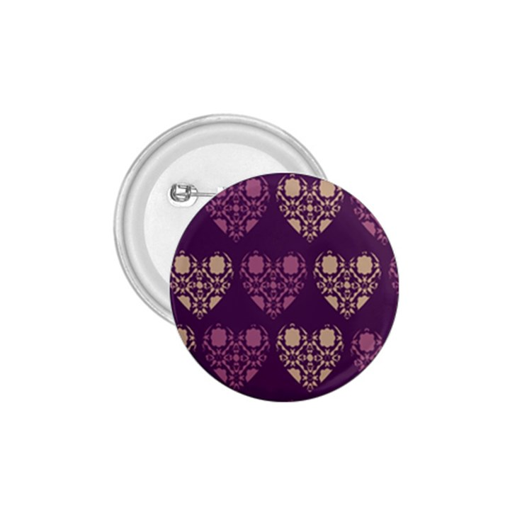 Purple Hearts Seamless Pattern 1.75  Buttons