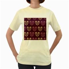 Purple Hearts Seamless Pattern Women s Yellow T-Shirt