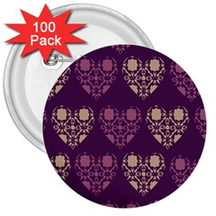 Purple Hearts Seamless Pattern 3  Buttons (100 pack)