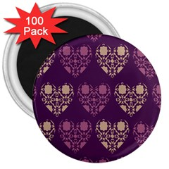 Purple Hearts Seamless Pattern 3  Magnets (100 Pack)