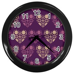 Purple Hearts Seamless Pattern Wall Clocks (black)