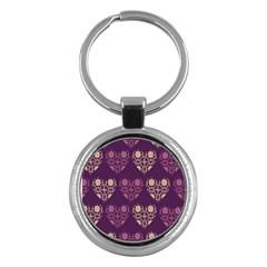 Purple Hearts Seamless Pattern Key Chains (Round)