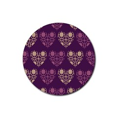 Purple Hearts Seamless Pattern Rubber Coaster (Round)