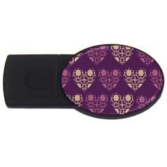 Purple Hearts Seamless Pattern USB Flash Drive Oval (1 GB)