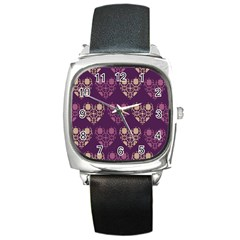 Purple Hearts Seamless Pattern Square Metal Watch
