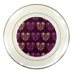 Purple Hearts Seamless Pattern Porcelain Plates