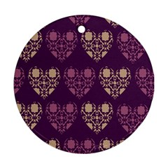 Purple Hearts Seamless Pattern Round Ornament (Two Sides)