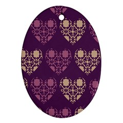 Purple Hearts Seamless Pattern Oval Ornament (two Sides)