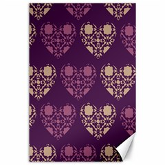 Purple Hearts Seamless Pattern Canvas 24  x 36
